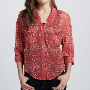 Free People Easy Rider Coral Button Front Blouse S